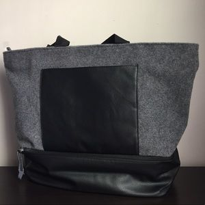 New DSW Gray Felt with Black Trim Large Tote